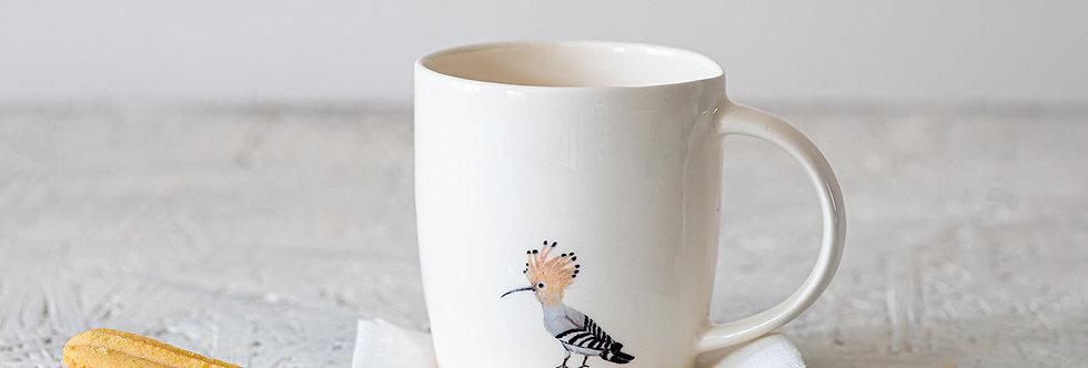 Ceramic Coffee Mug, Long Espresso Mug, Hand-Painted Hoopoe Mug, Robin Pottery Mug with Handle, Large Cappuccino Mug