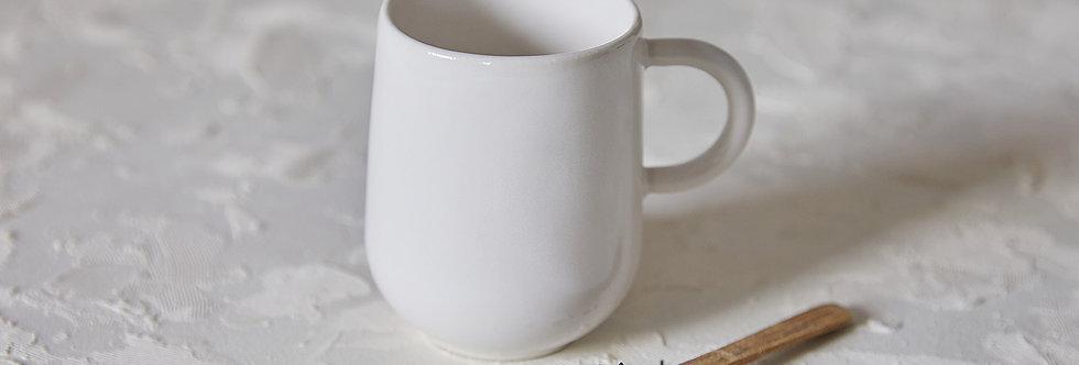 Elegant White Mug, Handmade Ceramic Mug, Modern Tea Mug, Mug with Handle