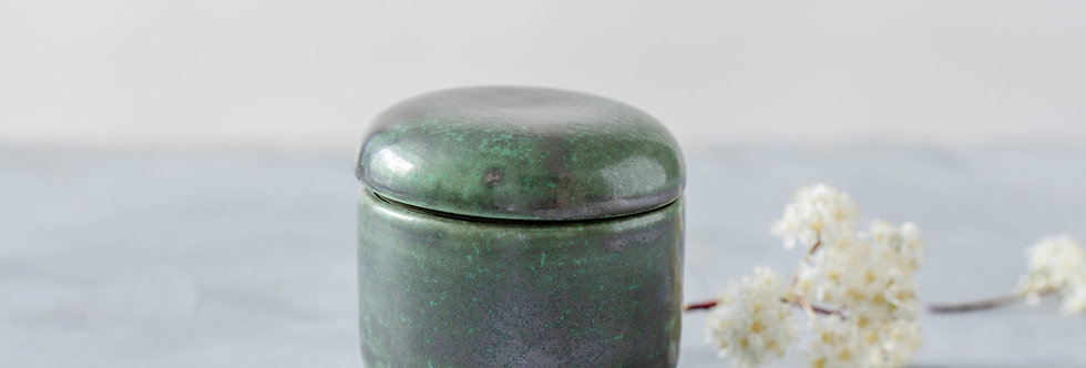 Japanese Pottery Jar, Ceramic Jewelry Box, Green Metal Sugar Bowl, Unique Box For Rings