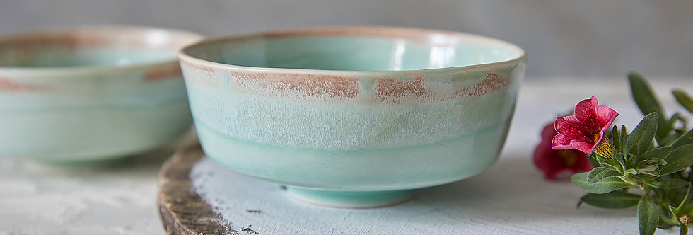 Turquoise Pottery Serving Bowl, Asian Soup Bowl, Japanese Ceramic Rice Bowl