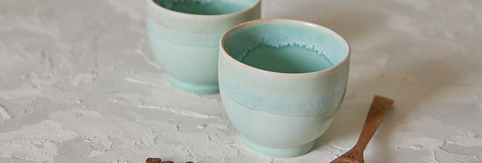 Turquoise Ceramic Matcha Tea Bowls, 2 Pottery Coffee Mugs, Ice Cream Bowls Set, Ceramic Tumblers Cups, Modern Pottery Gift