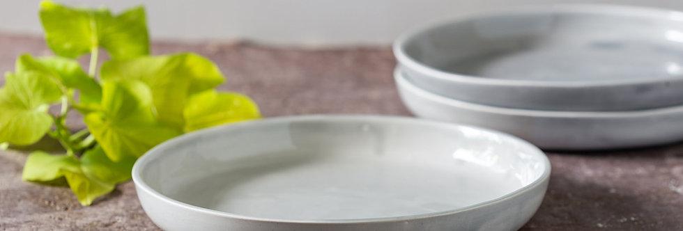 HUG PLATE. 2 Gray Ceramic Dinner Plates, Modern Pottery Bowl, Pasta/Noodles Bowl