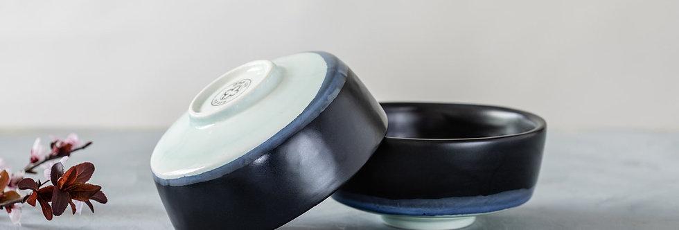 Japanese Ceramic Rice Bowl, Pottery Serving Dish, Asian Soup Bowl, Black-Blue Ceramic Nesting Bowl, Modern Handma