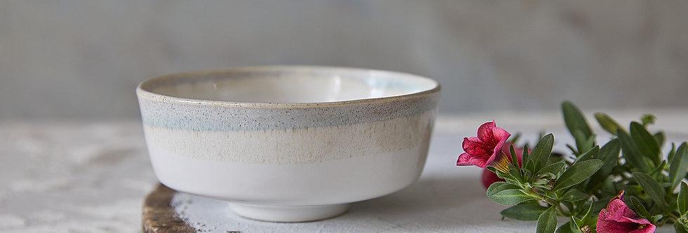 Asian Soup Bowl, Japanese Ceramic Rice Bowl, White-Stoney Pottery Serving Dish