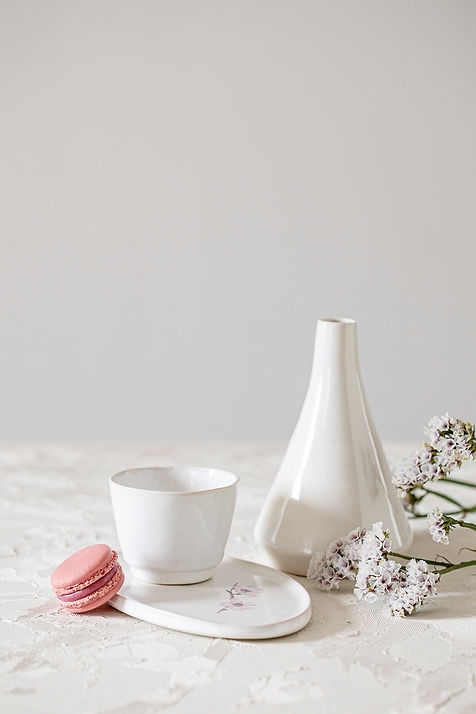 White Ceramic Coffee Set, Sake Bottle, Hand-Painted Almond Blossom, Espresso Cup and Saucer Set, Olive Oil Jag, Japanese White Pottery Set