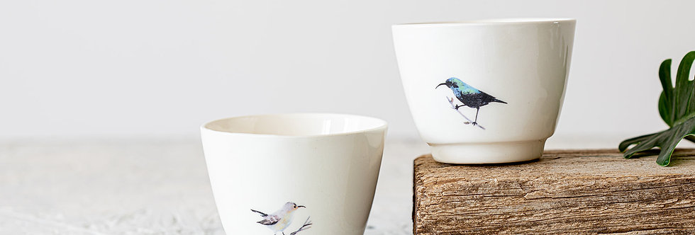 Espresso Cup Set Of 2, White Ceramic Cups, Pottery Coffee Cup Set, Hand Painted Sunbirds Teacup, Bird Tumbler Cups