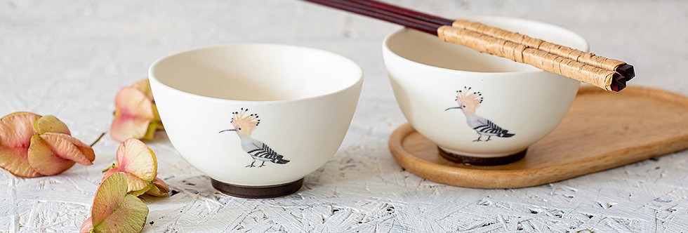 2 Off-White Ceramic Bowls Set, Hand Painted Hoopoe Bowl, Bird Pottery Bowl, Soup Bowl, Matcha Tea Bowl, Japanese Rice Bowl, S