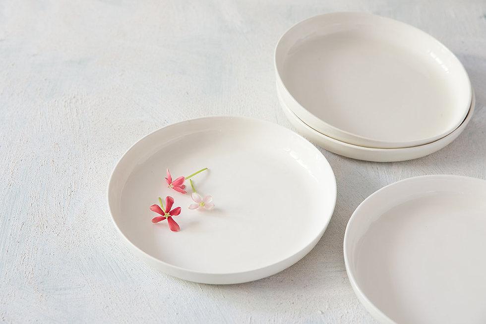 White Ceramic Dinner Plates, Modern Pottery Bowl, Pasta Plate, Noodles Bowl, Handmade Ceramic Dinnerware, New Home Gift, Couple Gift Idea