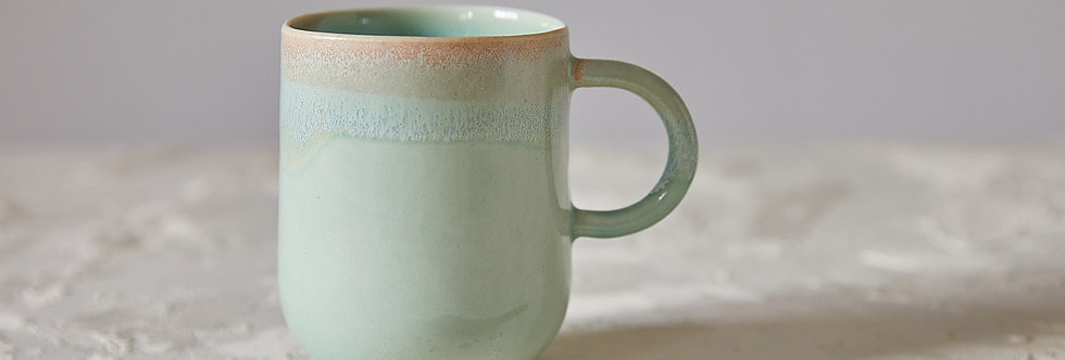 Turquoise Mug, Handmade Ceramic Mug, Modern Tea Mug, Mug with Handle, Light Turquoise Pottery, Nordic Design Coffee Mug
