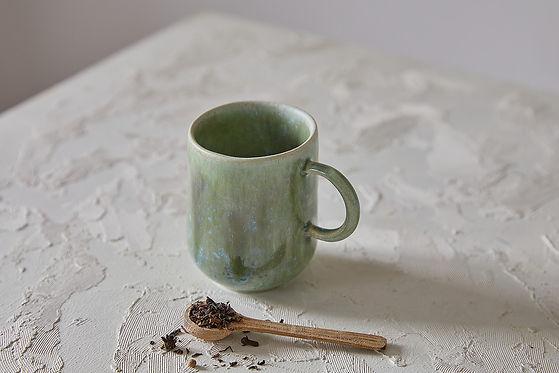 ספל קרמיקה בעבודת יד, מאג ירוק לקפה ותה, כוס עם ידית לאספרסו ארוך, מאג אלגנטי בסגנון סקנדינבי נורדי, ירוק כחול משחק