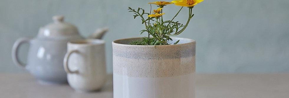 White and Stone Ceramic Planter, Indoor Modern Plant Holder, Pottery Pot, Home Planter, Succulent Planter