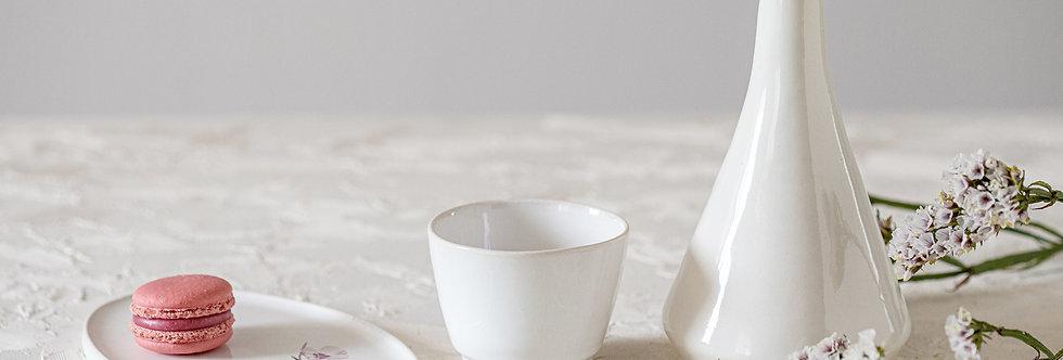 White Ceramic Drinking Set, Sake Bottle, Hand-Painted Almond Blossom