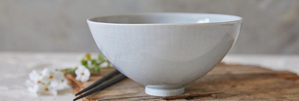 Pottery Serving Bowl, Ceramic Ramen Bowl, Gray Stoneware Bowl, Salad Nesting Bowl
