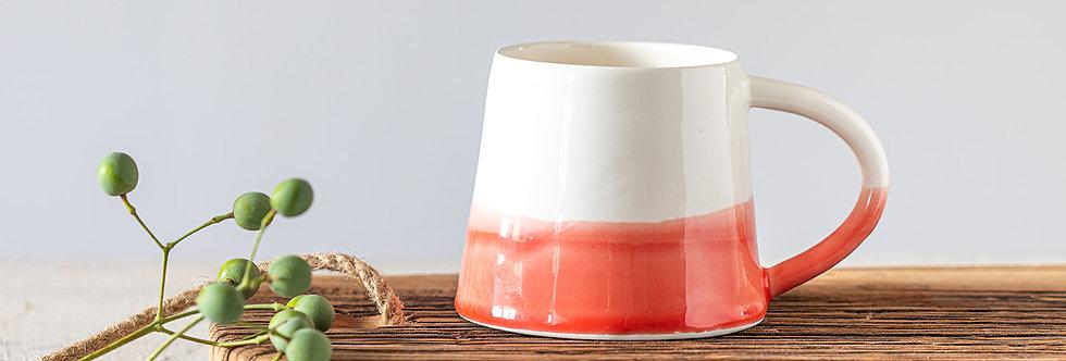 Elegant Coral & White Mug, Handmade Ceramic Mug, Modern Tea Mug