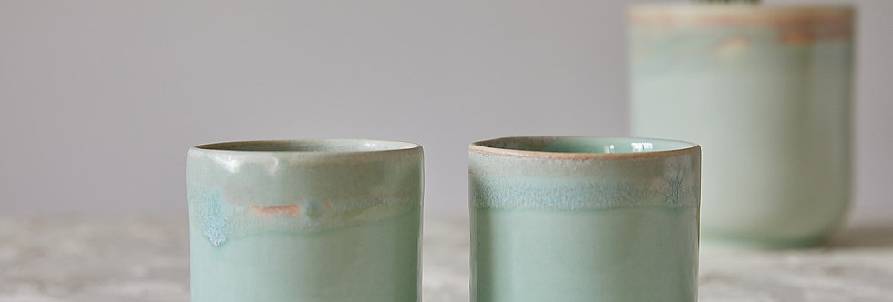 Ceramic Coffee And Tea Cups, Double Espresso Cup Set, Japanese Design, Turquoise Pottery Cups