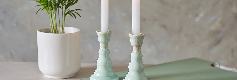 Sabbath Candle holders, Pair of Tall Candlesticks, Turquoise Ceramic Candle Holders