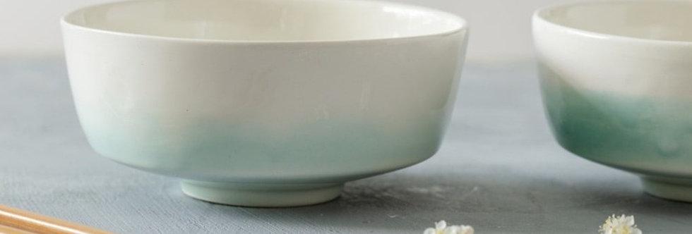 White Green Serving Bowl