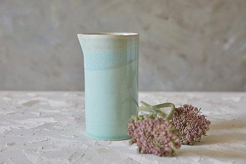 ואזה מקרמיקה, קנקן טורקיז לשתיה קרה או חמה, כלי לפרחים בעבודת יד
