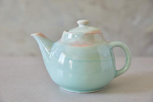 קומקום קרמיקה בעבודת יד, קומקום תה ירקרק, קומקום קרמיקה טורקיז בהיר