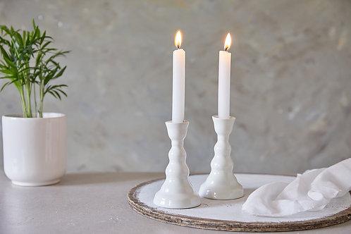פמוטים מקרמיקה בעבודת יד, פמוטים לבנים לנרות שבת פמוטים אלגנטים