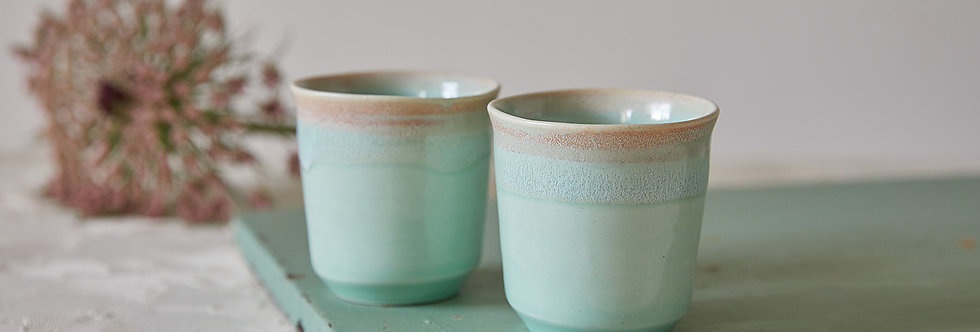 Espresso Cup Set Of 2, Minimalist Pottery Teacup, Turquoise Ceramic Coffee Tumbler, Modern Pottery Latte Cup, Co Worker Gift