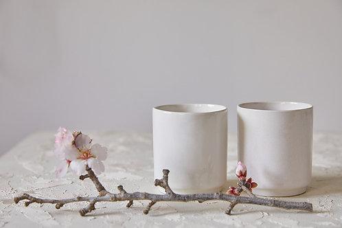 כוס לונגו מקרמיקה בעבודת יד, כוס אספרסו ארוך בצבע לבן, כוס לשתיה קרה, כוס מקרמיקה לתה