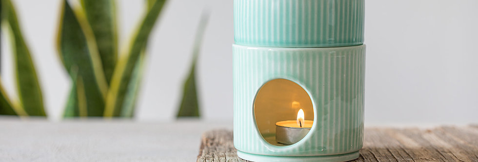 Turquoise Candle Warmer, Essential Oil Burner, Aromatherapy Pottery, Ceramic Oil Diffuser, Stripy Texture