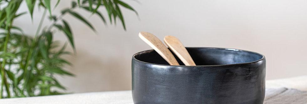 Black Pottery Bowl, Modern Urban Ceramic Bowl, Large Salad Bowl, Fruit Bowl