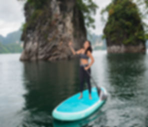 SUP Thailand. Stand up paddle boarding Thailand. NSP infaltable Yoga board.