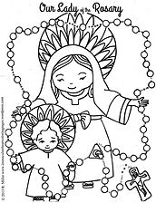 Our Lady of the Rosary colouring page.jp