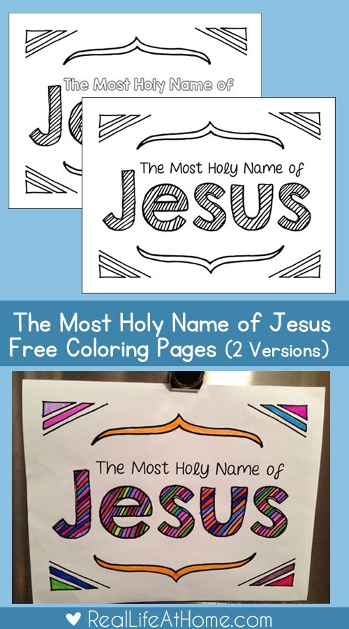 Holy Name of Jesus Colouring Page