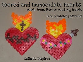 Sacred & Immaculate Hearts perler beads.