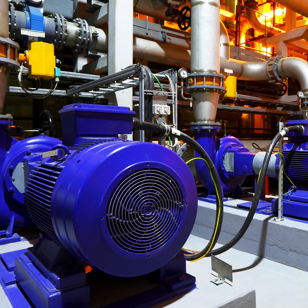 Electric motor on condenser water pump