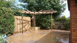 Staggered sandstone patio area
