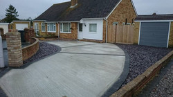 Concrete drive with slate area