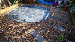 Black slate circle patio