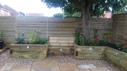 Sleeper planters with bench