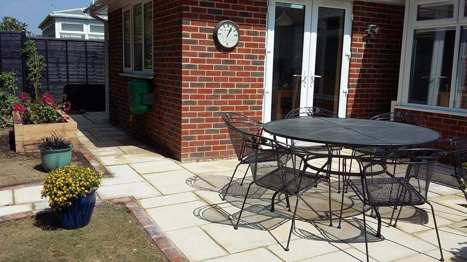 Fossil sandstone patio