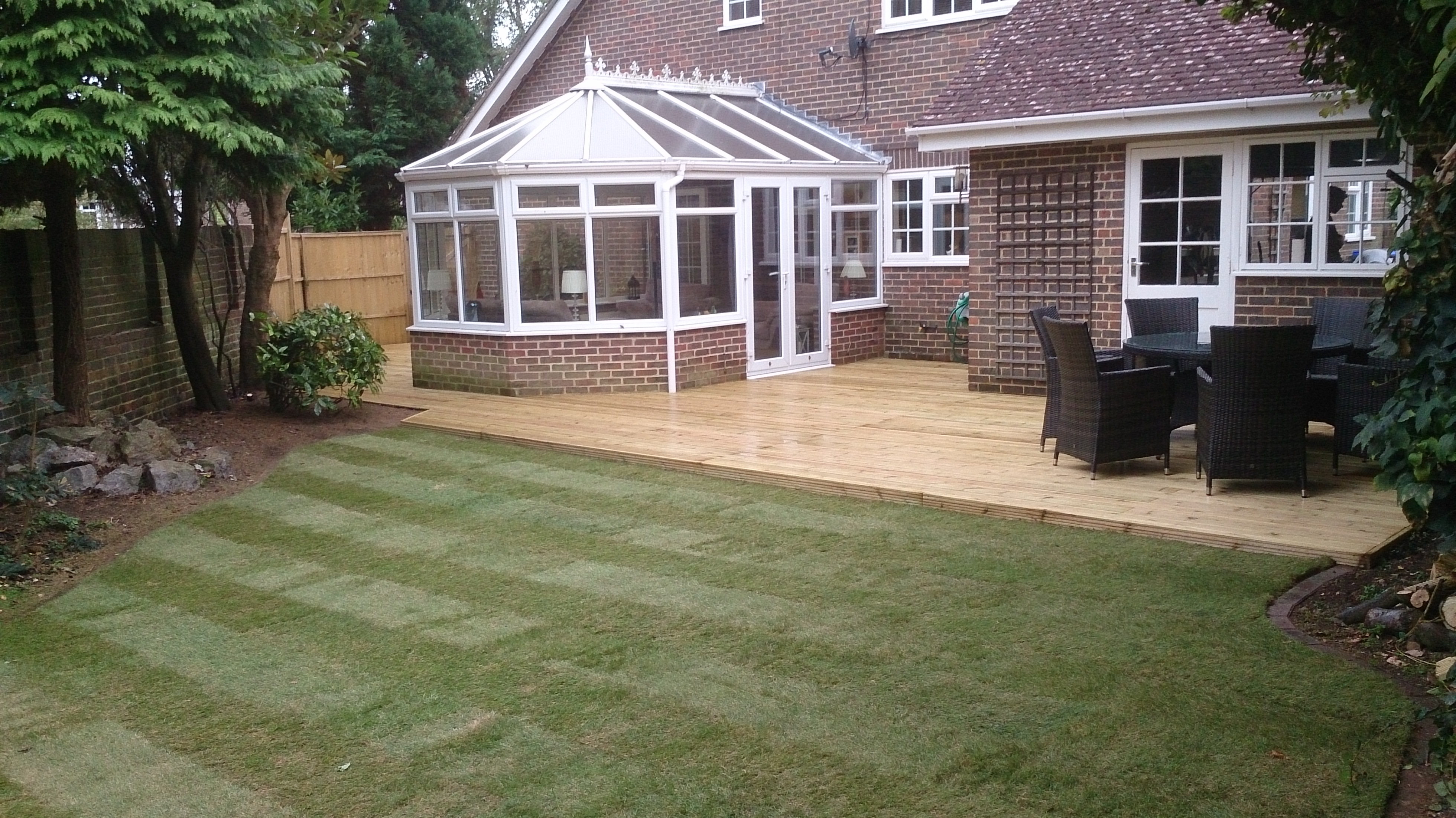 Raised deck and lawn