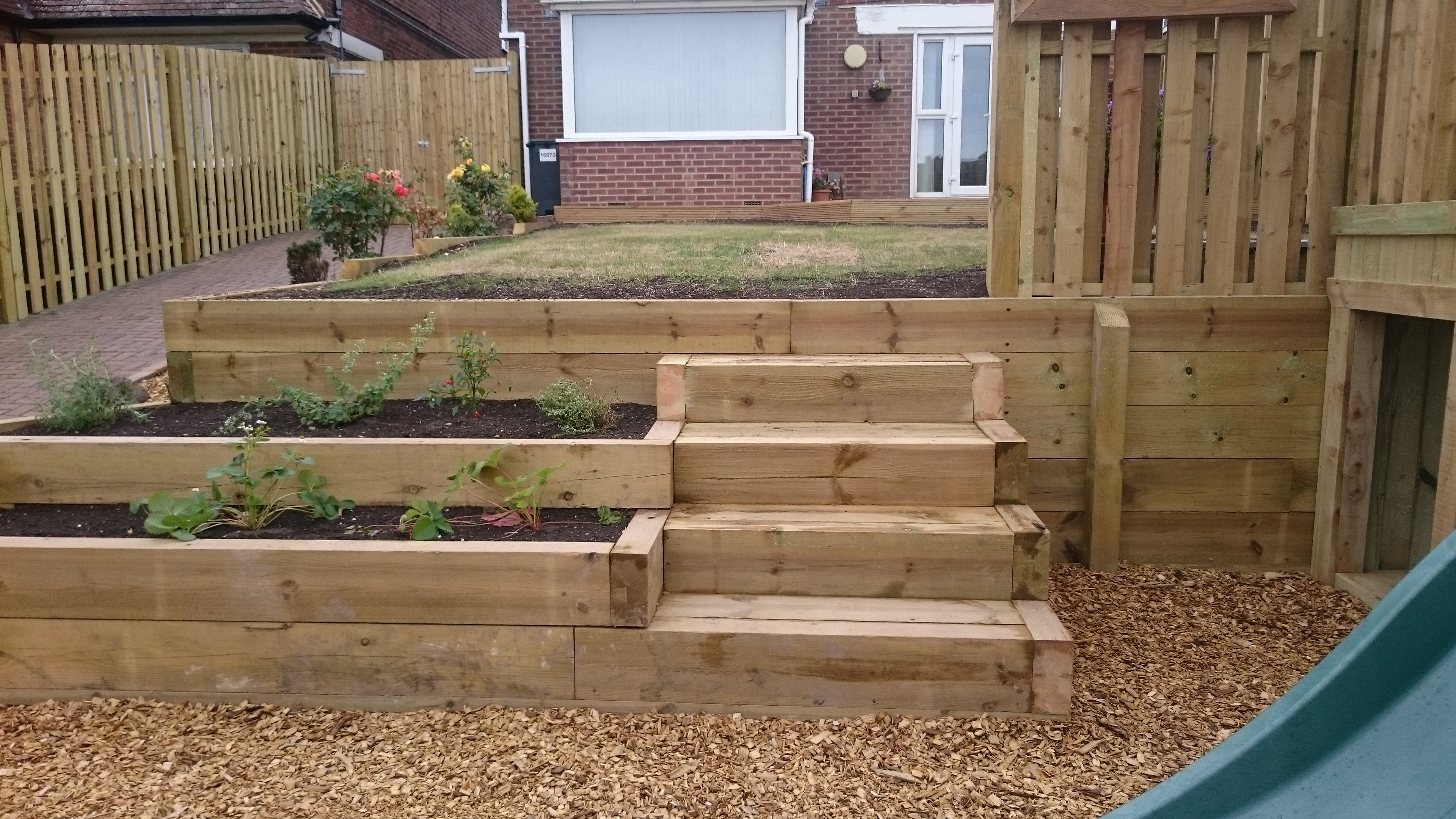 Sleeper planters and steps