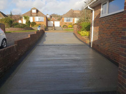 Concrete drive with charcoal edging