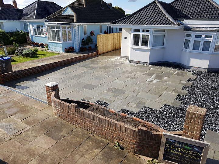 Grey sandstone driveway