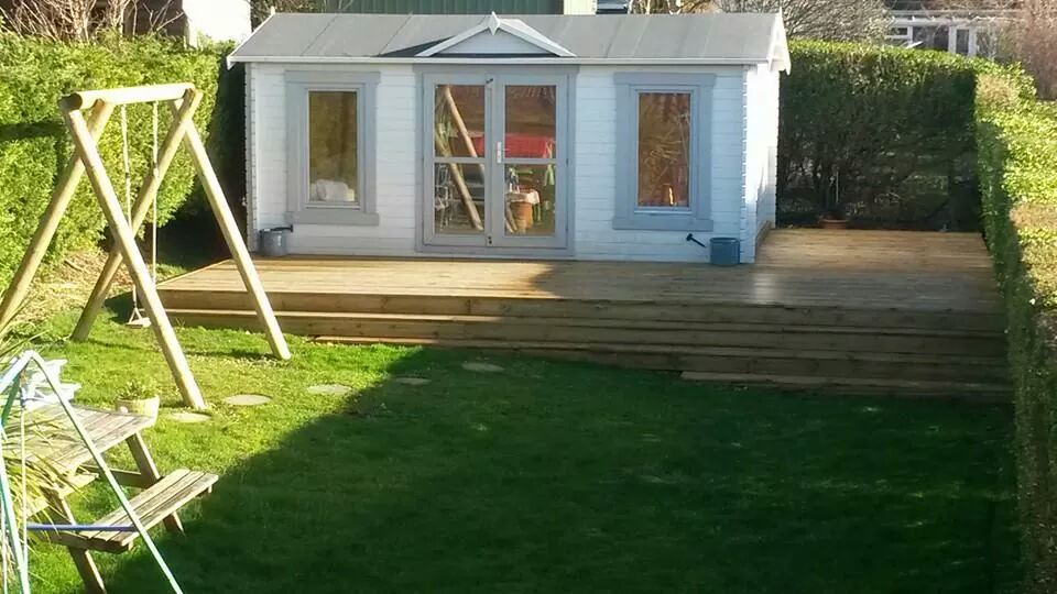 Raised deck and childrens swing