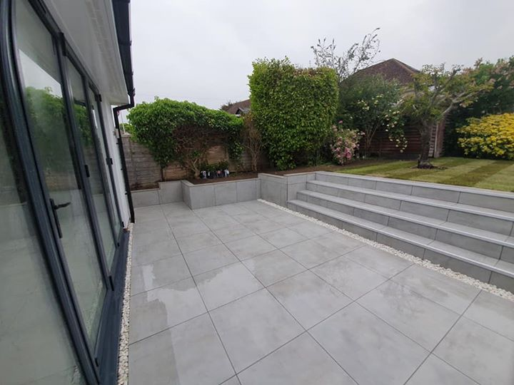 Outdoor tile patio and steps