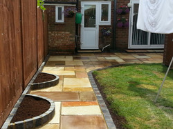 Fossil sandstone patio and path
