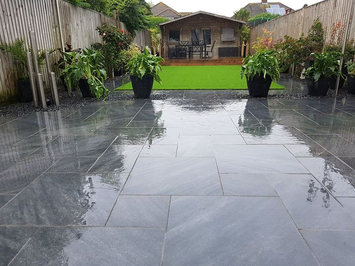 Graphite tile patio
