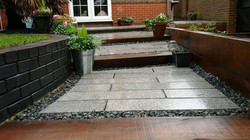 Oak sleeper and granite steps