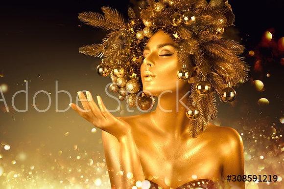 Golden Christmas Woman