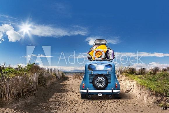 Blauwe oldtimer op reis