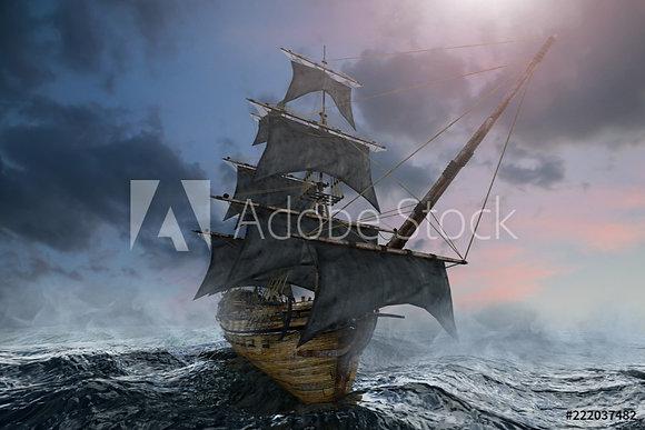 Piratenboot op zee